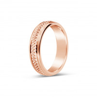 9ct Rose Gold Gents 5mm Diamond Cut Wedding Band