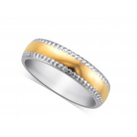 Palladium Gents 5mm Wedding Ring, With A 3mm 18ct Yellow Gold Centre Band