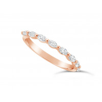 Fine Quality 18ct Rose Gold Unique Narrow Marquise Cut Wedding Band Set With 8 Diamonds, Total Diamond Weight 0.50ct