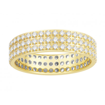 18ct Yellow Gold Ladies 3 Row Pavé Set Full Eternity Ring set with 1.25ct of Diamonds