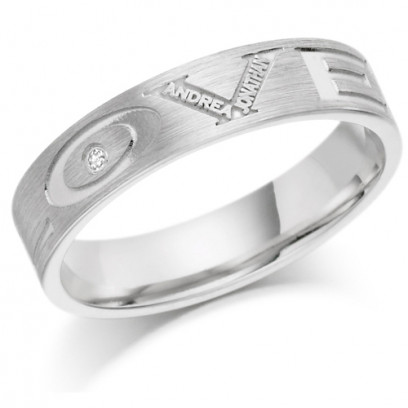 9ct White Gold Ladies 4mm Ring Engraved with 'Love' and 2 Names and Set with 1pt Diamond