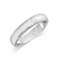 9ct White Gold Ladies 4mm Fingerprint Wedding Ring