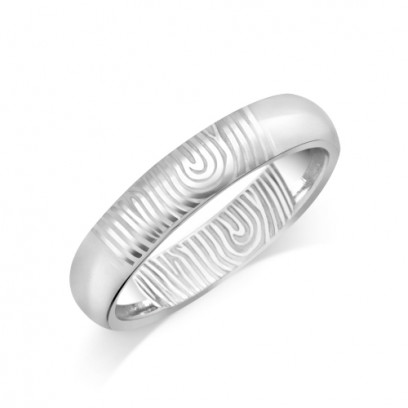 18ct White Gold Ladies 4mm Fingerprint Wedding Ring
