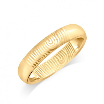 18ct Yellow Gold Ladies 4mm Fingerprint Wedding Ring