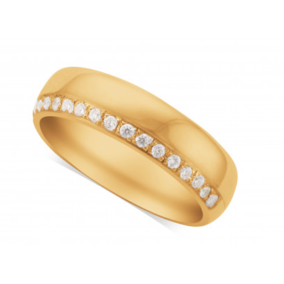 Gents 9ct Gold Diamond Set Wedding Ring