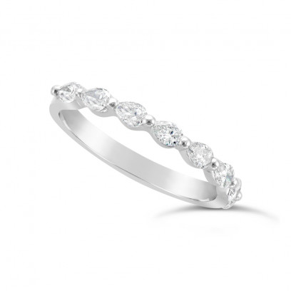 Fine Quality 18ct White Gold Unique Pear Shape Wedding Band Set With 8 Diamonds, Total Diamond Weight 0.50ct