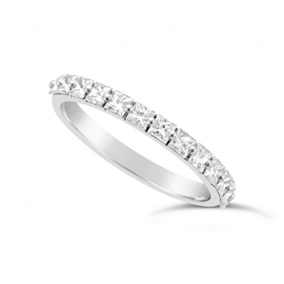 Fine Quality 18ct White Gold Unique Narrow Princess Cut Wedding Band Set With 13 Diamonds, Total Diamond Weight 0.70ct