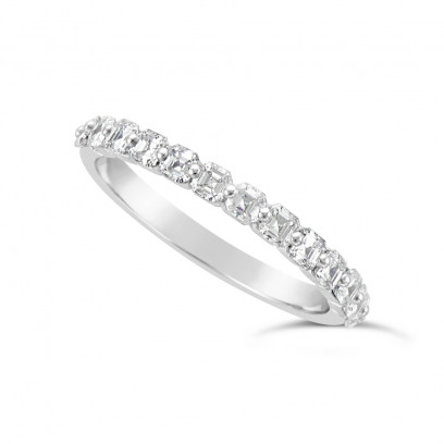 Fine Quality 18ct White Gold Unique Narrow Asscher Cut Wedding Band Set With 13 Diamonds, Total Diamond Weight 0.75ct