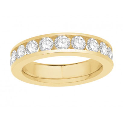 18 ct Yellow Gold Ladies Narrow Channel Set Full Eternity Ring set with 2.50ct of Diamonds.