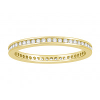 Platinum Ladies Narrow Channel Set Full Eternity Ring set with 0.25 ct of Diamonds.