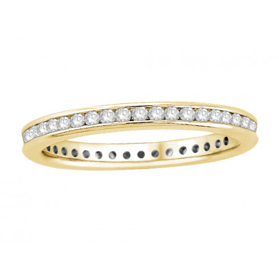 18 ct Yellow Gold Ladies Narrow Channel Set Full Eternity Ring set with 0.50 ct of Diamonds.