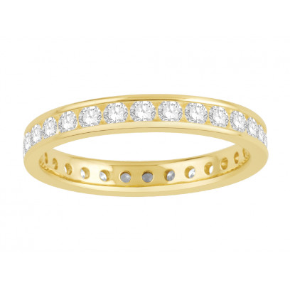 18 ct Yellow Gold Ladies Narrow Channel Set Full Eternity Ring set with 1.0ct of Diamonds.