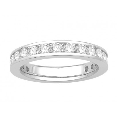 18 ct White Gold Ladies Narrow Channel Set Full Eternity Ring set with 1.50ct of Diamonds.