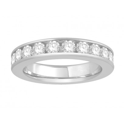 18 ct White Gold Ladies Narrow Channel Set Full Eternity Ring set with 2.0ct of Diamonds.