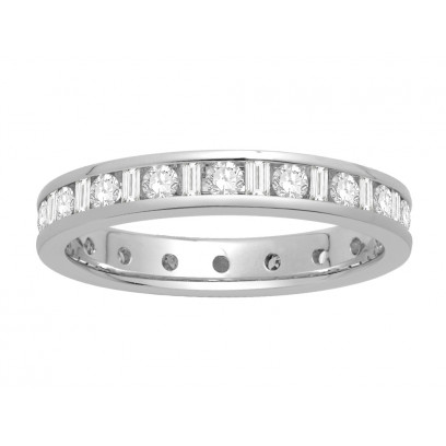 18 ct White Gold Ladies Channel Set Round and Baguette Cut Eternity Ring set with 0.75 ct of Diamonds.