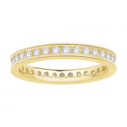 18 ct Yellow Gold Ladies Channel Set with the Milgrain Edge Eternity Ring set with 0.50 ct of Diamonds.