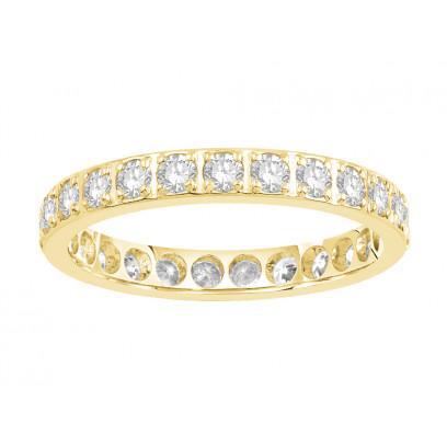 18ct Yellow Gold Ladies Pavé Set Full Eternity Ring set with 1.0ct of Diamonds