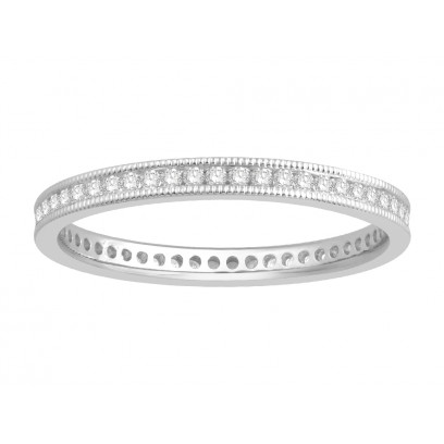 18 ct White Gold Ladies Channel Set with the Milgrain Edge Eternity Ring set with 0.27 ct of Diamonds.