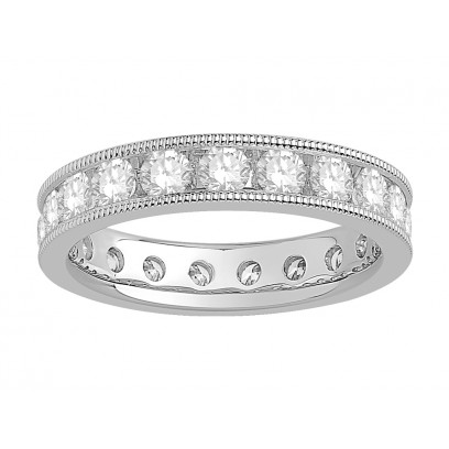 18 ct White Gold Ladies Channel Set with the Milgrain Edge Eternity Ring set with 2.0 ct of Diamonds.