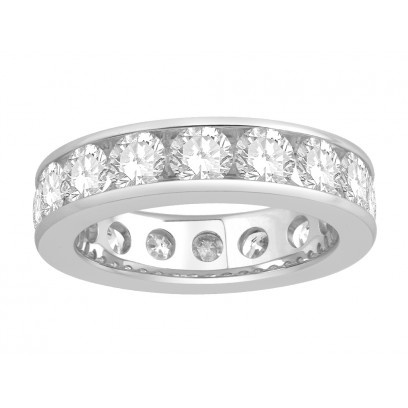 18 ct White Gold Ladies Narrow Channel Set Full Eternity Ring set with 3.60ct of Diamonds.
