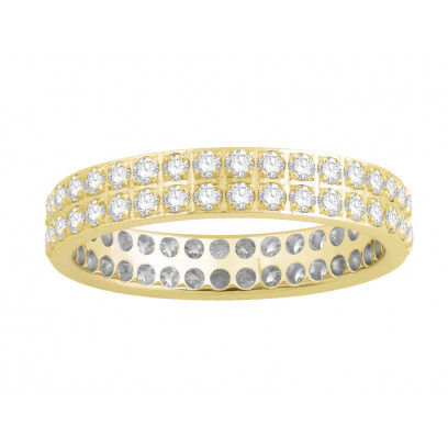 18ct Yellow Gold Ladies 2 Row Pavé Set Full Eternity Ring set with 1.0ct of Diamonds