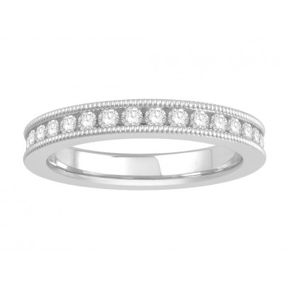 18 ct White Gold Ladies Channel Set with the Milgrain Edge Eternity Ring set with 0.75 ct of Diamonds.