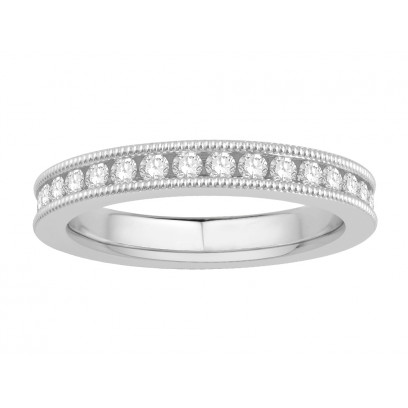 18 ct White Gold Ladies Channel Set with the Milgrain Edge Eternity Ring set with 1.0 ct of Diamonds.