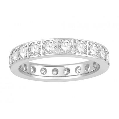 18ct White Gold Ladies Pavé Set Full Eternity Ring set with 2.0ct of Diamonds
