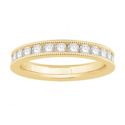 18 ct Yellow Gold Ladies Channel Set with the Milgrain Edge Eternity Ring set with 1.25 ct of Diamonds.