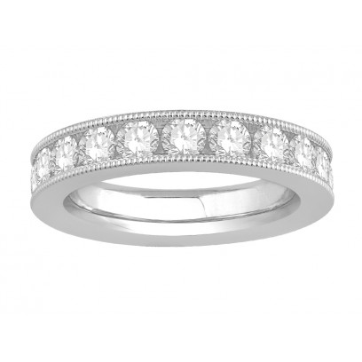 18 ct White Gold Ladies Channel Set with the Milgrain Edge Eternity Ring set with 2.50 ct of Diamonds.