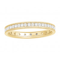 18 ct White Gold Ladies Channel Set Round and Baguette Cut Eternity Ring set with 0.50 ct of Diamonds.