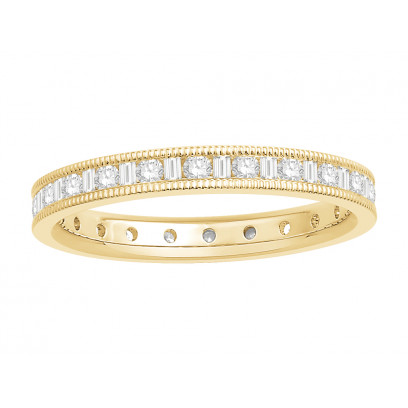 18 ct Yellow Gold Ladies Channel Set Round and Baguette Cut Eternity Ring set with 0.50 ct of Diamonds.