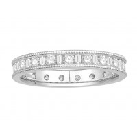18 ct Yellow Gold Ladies Channel Set Round and Baguette Cut Eternity Ring set with 0.75 ct of Diamonds.
