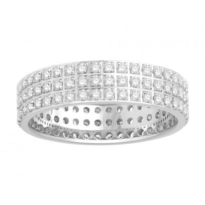 18ct White Gold Ladies 3 Row Pavé Set Full Eternity Ring set with 1.0ct of Diamonds