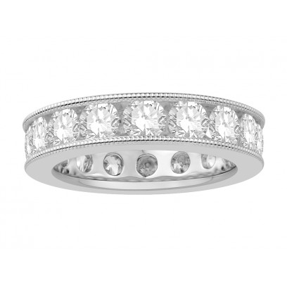 18 ct White Gold Ladies Channel Set with the Milgrain Edge Eternity Ring set with 3.70 ct of Diamonds.