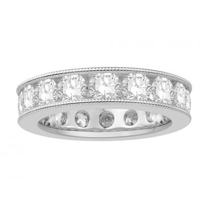 Platinum Ladies Channel Set with the Milgrain Edge Eternity Ring set with 3.70 ct of Diamonds.