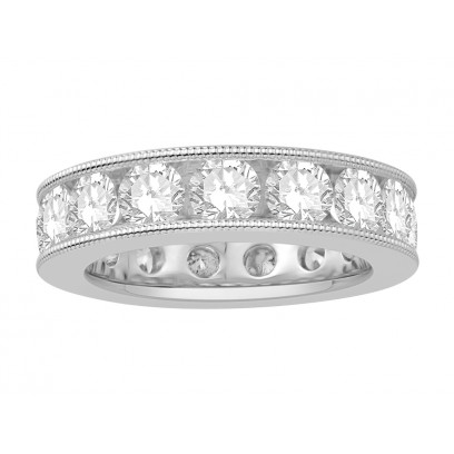 18 ct White Gold Ladies Channel Set with the Milgrain Edge Eternity Ring set with 4.50 ct of Diamonds.