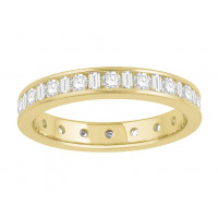 18 ct Yellow Gold Ladies Channel Set Round and Baguette Cut Eternity Ring set with 1.0 ct of Diamonds.