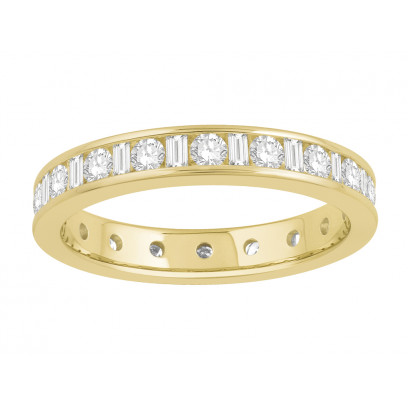 18 ct White Gold Ladies Channel Set Round and Baguette Cut Eternity Ring set with 1.0 ct of Diamonds.