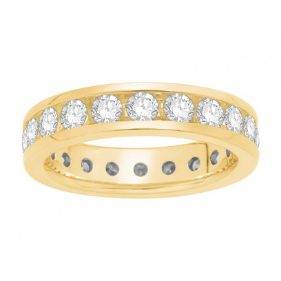18 ct Yellow Gold Ladies Narrow Channel Set Full Eternity Ring set with 3.38ct of Diamonds.