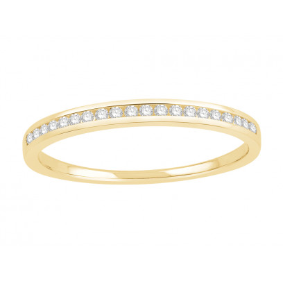 18 ct Yellow Gold Ladies Channel Set Eternity Ring set with 0.10 ct of Diamonds.