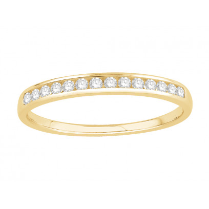 18 ct Yellow Gold Ladies Channel Set Eternity Ring set with 0.15 ct of Diamonds.