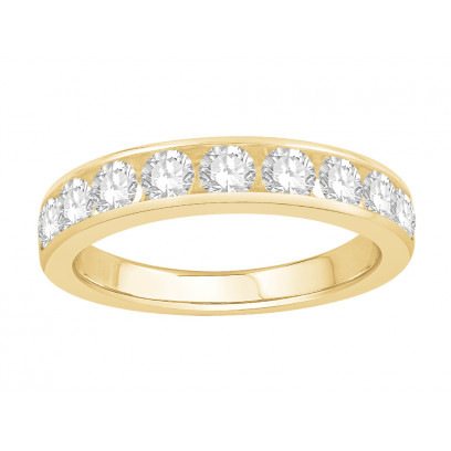 18 ct Yellow Gold Ladies Channel Set Eternity Ring set with 1.0 ct of Diamonds.