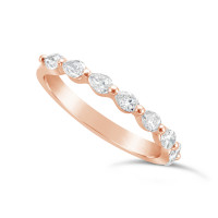 Fine Quality 18ct Rose Gold Unique Pear Shape Wedding Band Set With 8 Diamonds, Total Diamond Weight 0.50ct