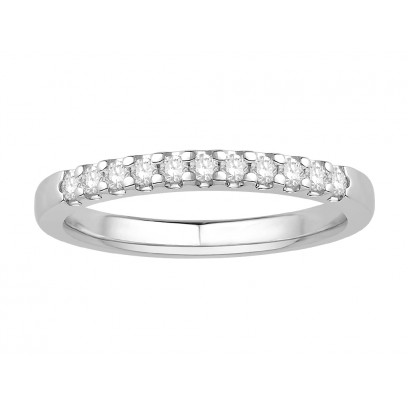 18 ct White Gold Ladies Undercut Set Eternity Ring set with 0.15 ct of Diamonds.