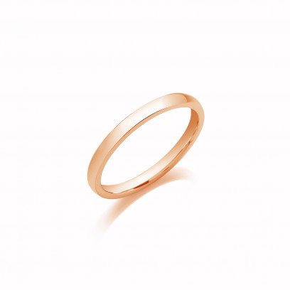 2mm Ladies Medium Weight 9ct Rose Gold D Shape Wedding Band