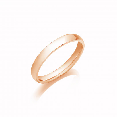 3mm Gents Heavy Weight 9ct Rose Gold D Shape Wedding Band