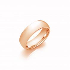 6mm Gents Light Weight 18ct Rose Gold Court Shape Wedding Band