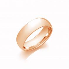 7mm Gents Light Weight 18ct Rose Gold Court Shape Wedding Band