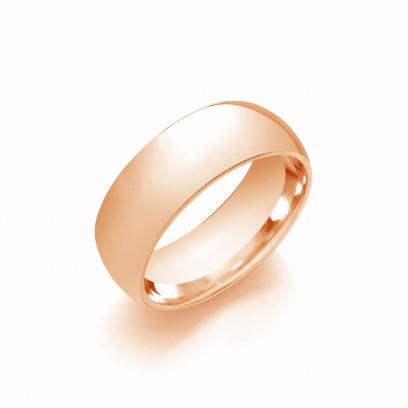 8mm Gents Light Weight 9ct Rose Gold Court Shape Wedding Band
